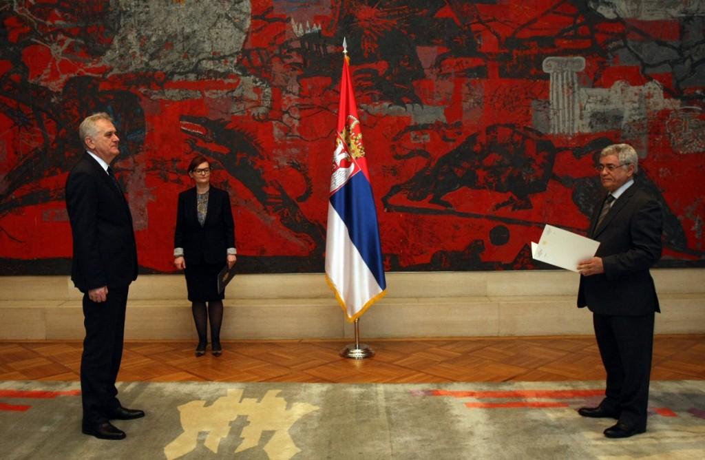 M. L'AMBASSADEUR PRESENTE SES LETTRES DE CREANCES AU PRESIDENT DE LA REPUBLIQUE DE SERBIE