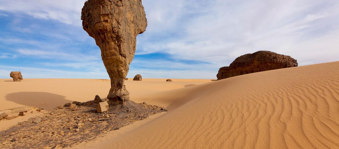 Wind-eroded pinnacle of stone near Inakashaker (named after a kind of locally-found bush in Tuareg language), an area of beautifully eroded rock five hours drive SE of Tamanrasset, in the Tassili du Hoggar.