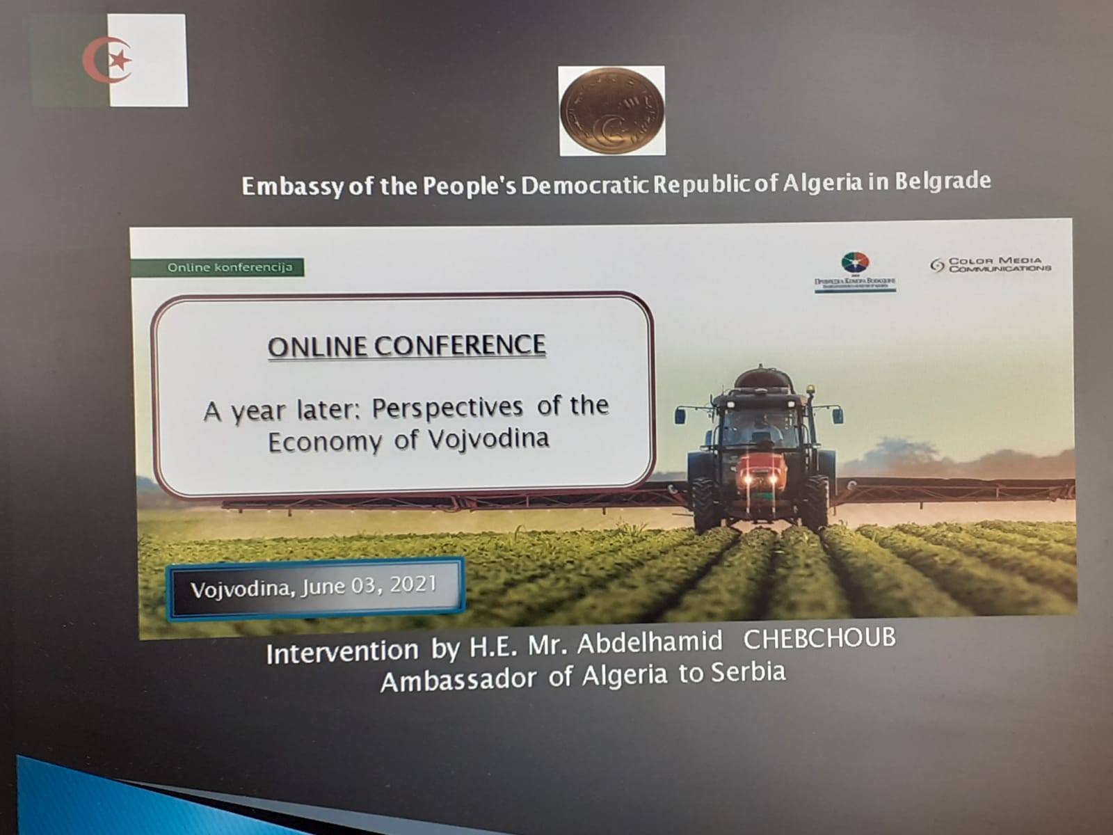L'ambassadeur d'Algerie participe à une conférence sur les perspectives de l'économie de la Vojvodine